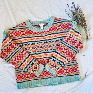 Sundance colorful patterned sweater size L